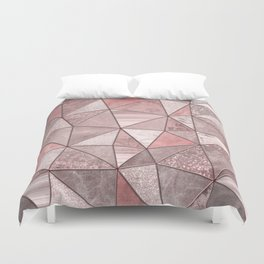 Soft Pink Coral Glamour Gemstone Triangles Duvet Cover