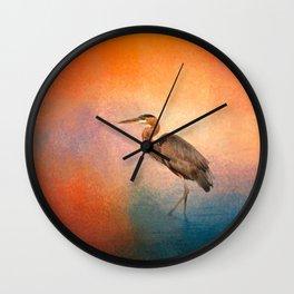 Sunset Heron Wall Clock