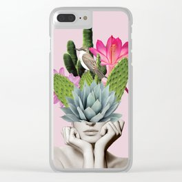 Cactus Lady Clear iPhone Case