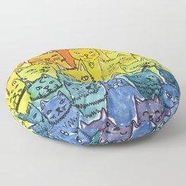 the pride cat rainbow  squad Floor Pillow