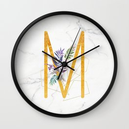 Modern glamorous personalized gold initial letter M, Custom initial name monogram gold alphabet prin Wall Clock