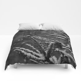 The Evergreen with Snow (Black and White) Comforters