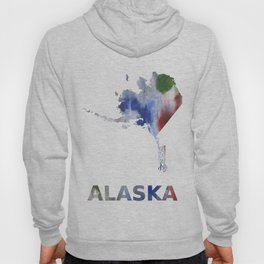 Alaska map outline Bright multicolored nebulous watercolor Hoody
