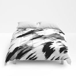 Modern Abstract Black White Brushstroke Art Comforters