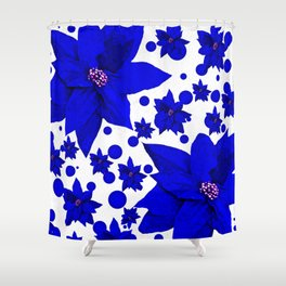 Poinsettia Blue Indigo Pattern Shower Curtain
