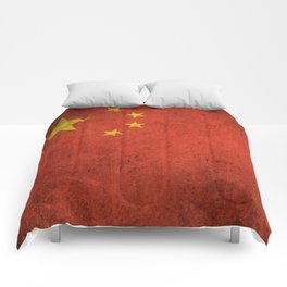 Old and Worn Distressed Vintage Flag of China Comforters
