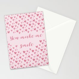 You Make Me Smile - Hearts Pattern Stationery Cards
