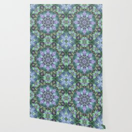Ribbon Mandala in Blue and Purple Wallpaper