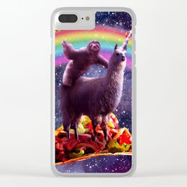 Space Sloth Riding Llama Unicorn - Taco & Burrito Clear iPhone Case