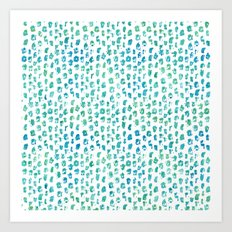 Aqua Blue Green Abstract Watercolor Art Print