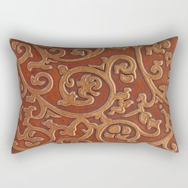 Golden Reddish Brown Tooled Leather Rectangular Pillow