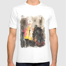 Dark Souls Bonfire with a Warrior Japanese calligraphy White LARGE Mens Fitted Tee