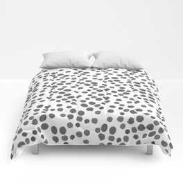 Modern hand painted gray black watercolor polka dots pattern Comforters
