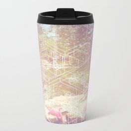 Geometric White Miami Garden Metal Travel Mug