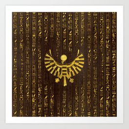 Golden Egyptian Horus Falcon and hieroglyphics on wood Art Print