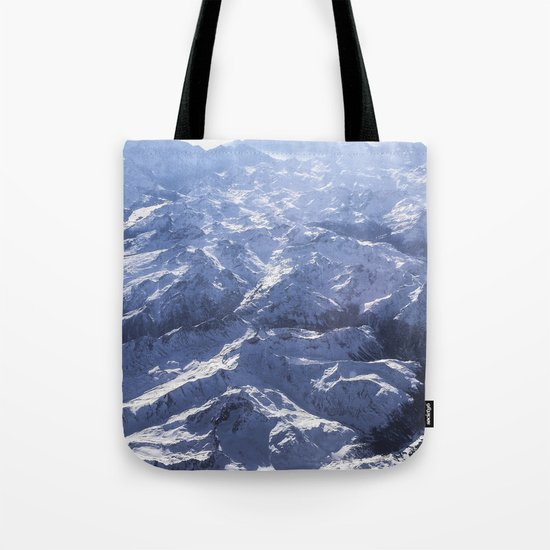 White mountains with snow winter nature Tote Bag
