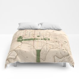 Vintage Map of Washington DC (1876) Comforters