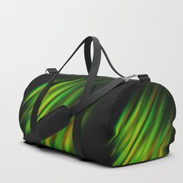 Colorful neon green brush strokes on dark gray Duffle Bag