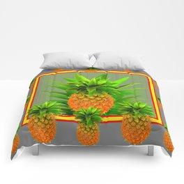 MODERN  GOLDEN  HAWAIIAN PINEAPPLE GREY ART Comforters