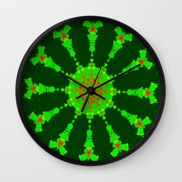 Lovely Healing Mandalas in Brilliant Colors: Hunter Green, Bright Green, Red, and Yellow Wall Clock