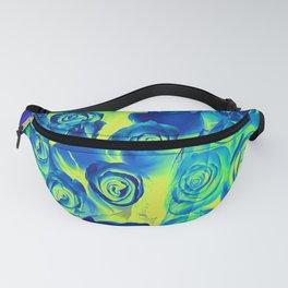 bouquet of roses texture pattern abstract in blue and green Fanny Pack