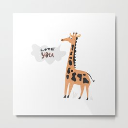Love Giraffe Metal Print