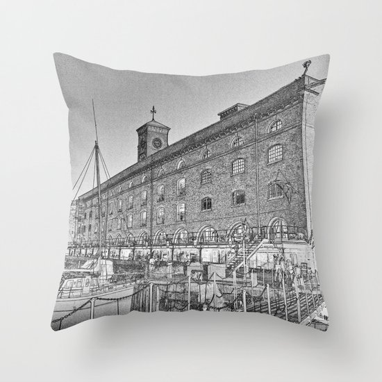 St Katherine's Dock London sketch Throw Pillow