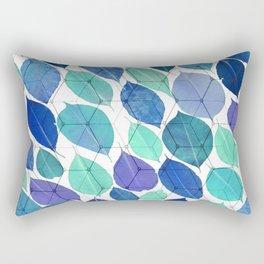 Torquise Blue Leaf Rectangular Pillow