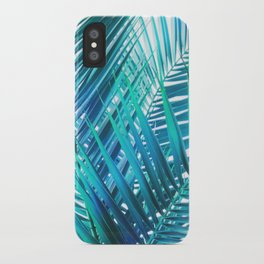 Turquoise Palm Leaves iPhone Case