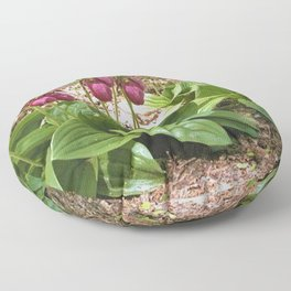New England Wild Orchid Lady Slipper Flowers Floor Pillow