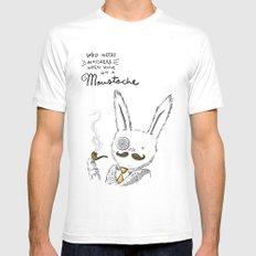 Moustache wins. Always. Mens Fitted Tee White MEDIUM