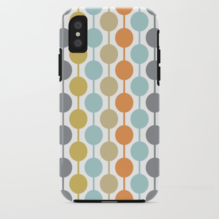 Retro Circles Mid Century Modern Background iPhone Case
