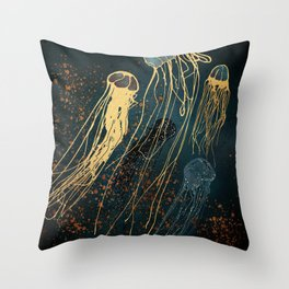 Metallic Jellyfish Throw Pillow