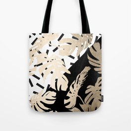 Simply Tropical Midnight Black Memphis Palm Leaves Tote Bag