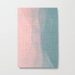 In The Flow - Geometric Minimalist Blue Pink Metal Print