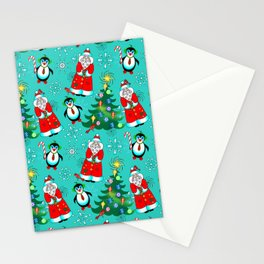 Santa and Penguin in Teal Stationery Cards