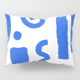 Brush Stroke Minimal 19 - Abstract Pattern Shapes Modern Mid Century Texture Blue. Gift idea Home deco Pillow Sham