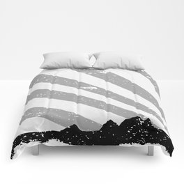 Town Silhouette Grey Grunge Comforters