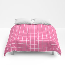 Cyclamen - pink color - White Lines Grid Pattern Comforters