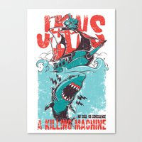 jaws Canvas Prints featuring Jaws by Tshirt-Factory