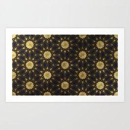 Islamic decorative pattern with golden artistic texture Art Print