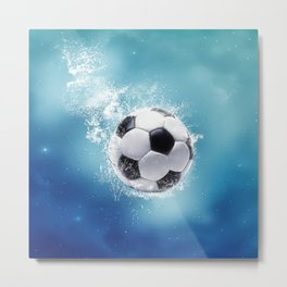 Soccer Water Splash Metal Print