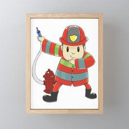 Funny dabbing firefighter design - perfect gift Framed Mini Art Print