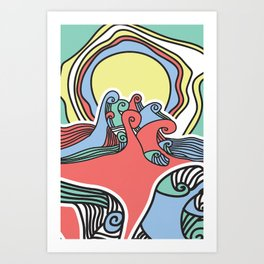 waves colors Art Print