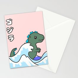 kawaii tiny godzilla kanagawa wave Stationery Cards