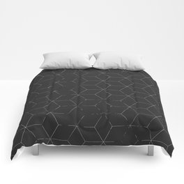 Faded Black and White Cubed Abstract Comforters