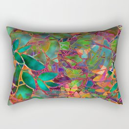 Floral Abstract Stained Glass G176 Rectangular Pillow