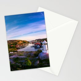 Sunset over old fishing port - Aerial Photography Stationery Cards