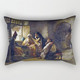 Frederick Arthur Bridgman An Interesting Game Rectangular Pillow