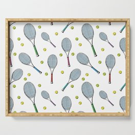 Tennis pattern. Hand-drawn colored sketch style tennis racquet with yellow tennis balls on white bac Serving Tray
